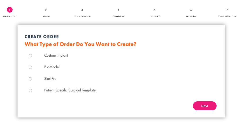 Create Order Screenshot